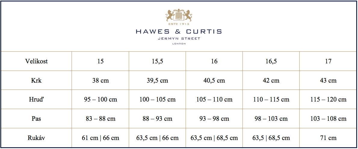 Tabulka velikostí košile Hawes & Curtis