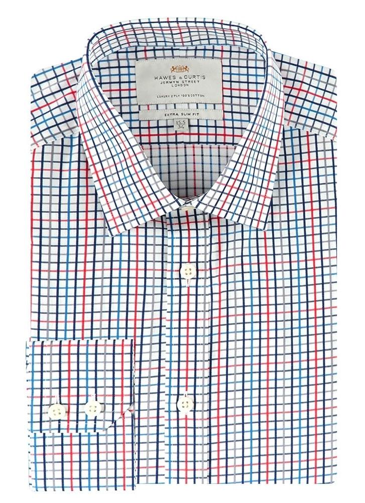 160fbeca5aa Bílá košile s modrými a červenými pruhy