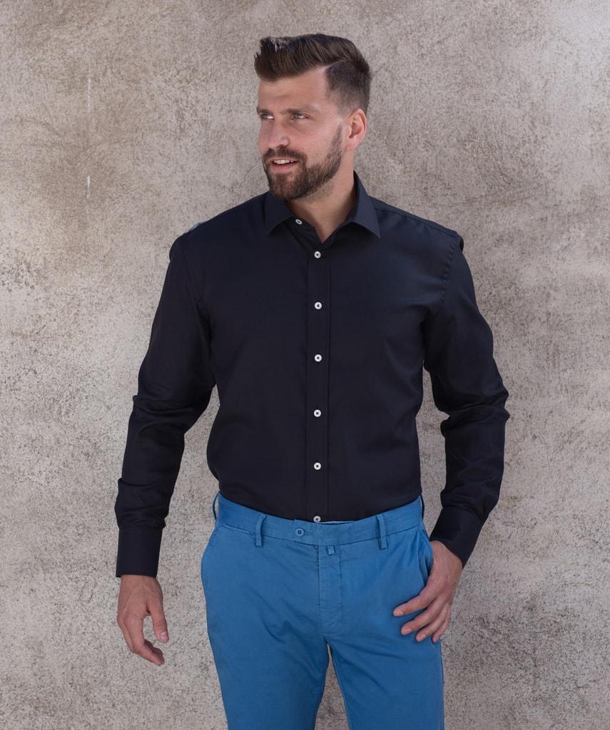 luxusní pánské košile · pánská černá košile · pánské slim fit košile 58fb57c6f0